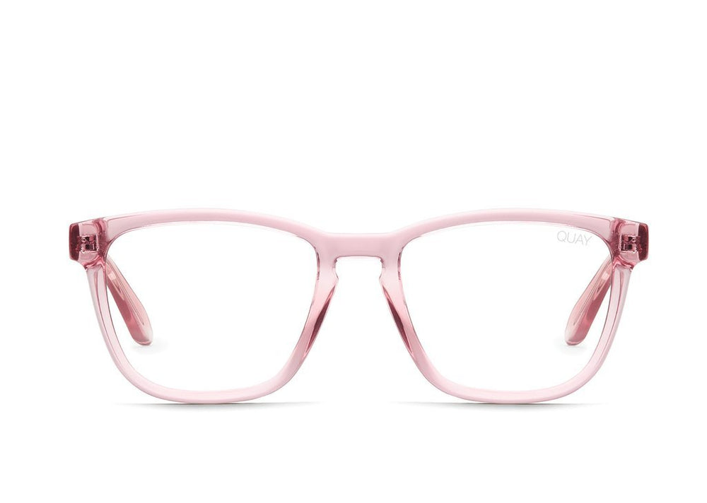 Side view of pink framed Hardwire glasses on white background.