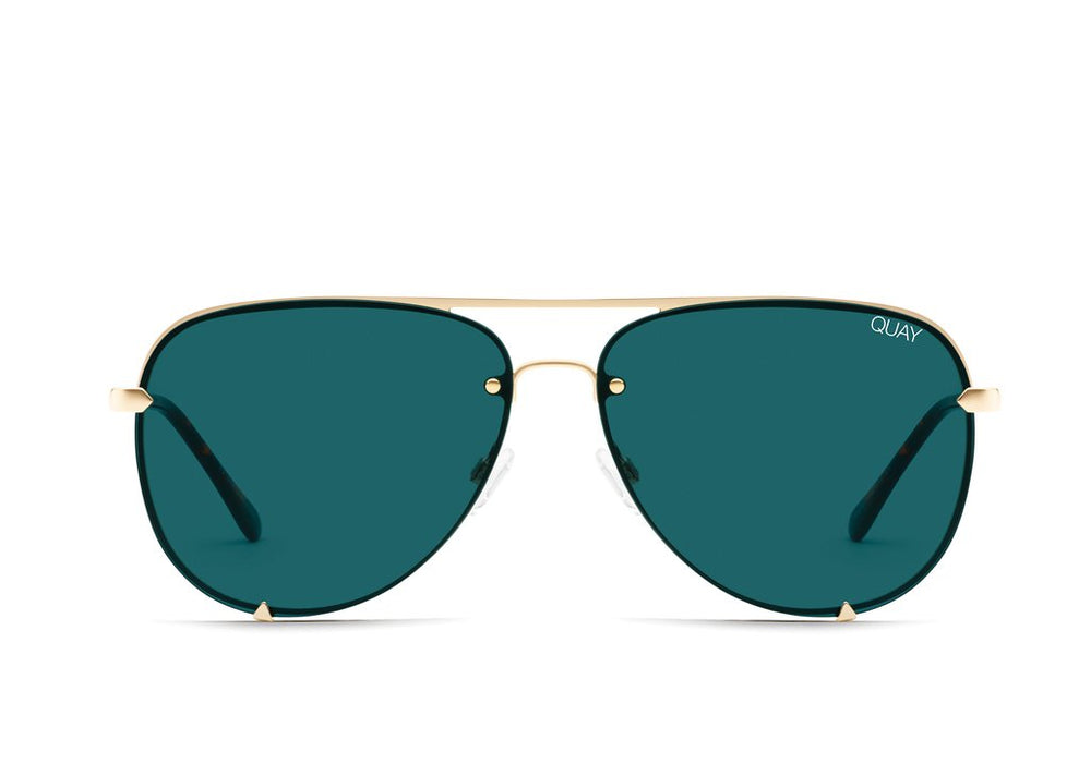 High Key Rimless Sunglasses Gold/Teal