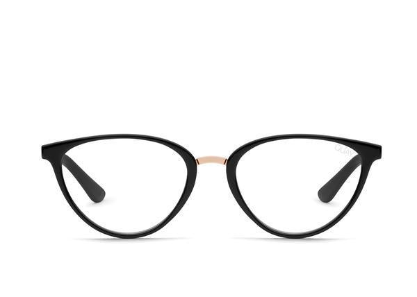 Side view of Rumours, black framed glasses on white background.