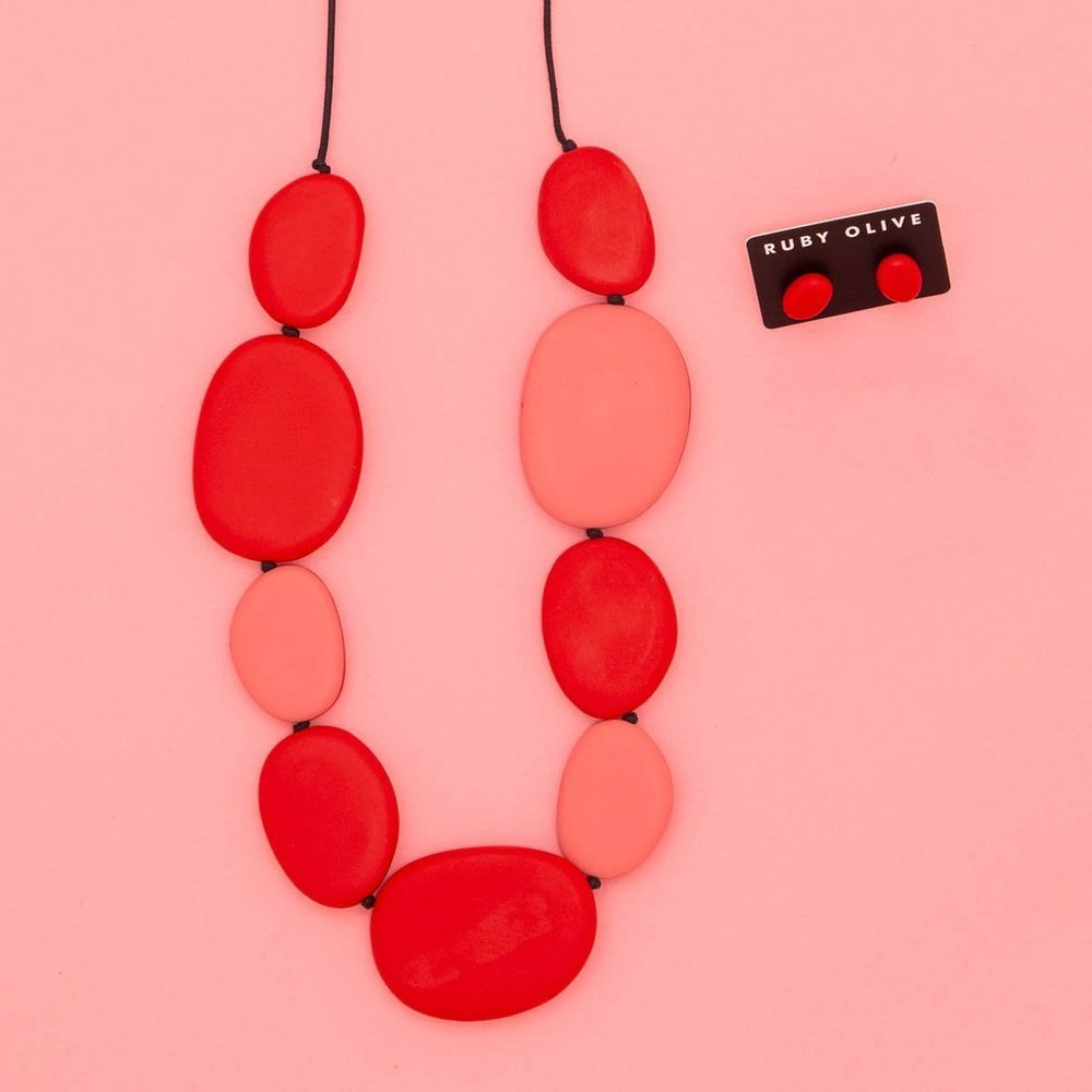 Rocco Long Flat Pebble Necklace Melon/Red
