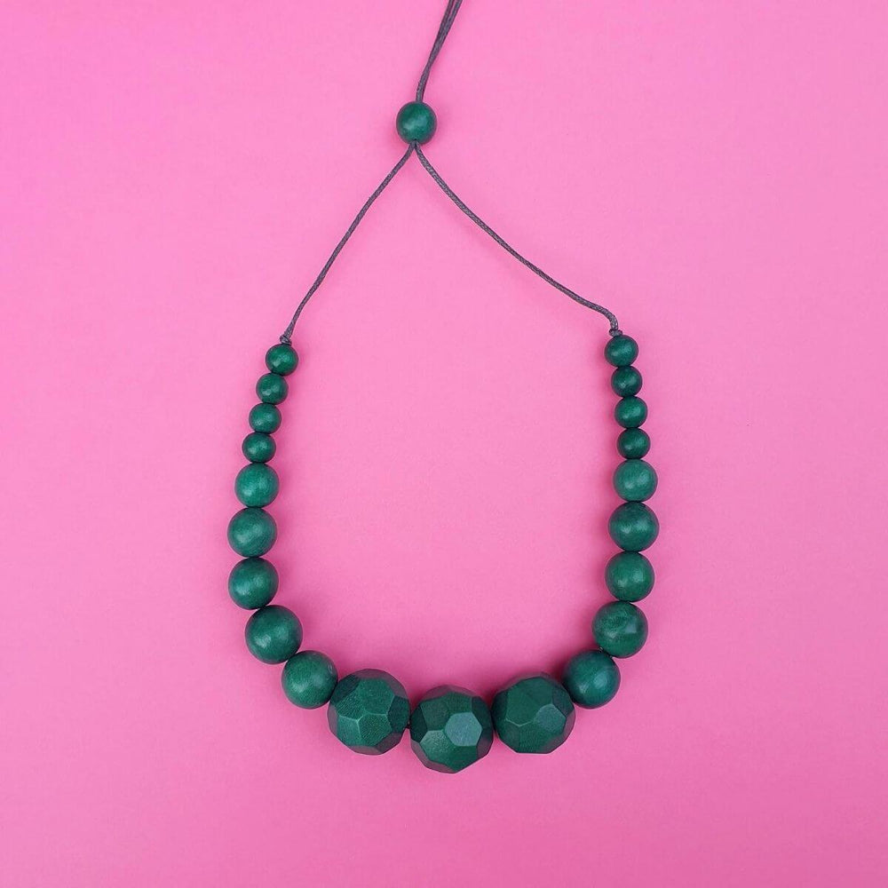 Graduated Beads Necklace Green