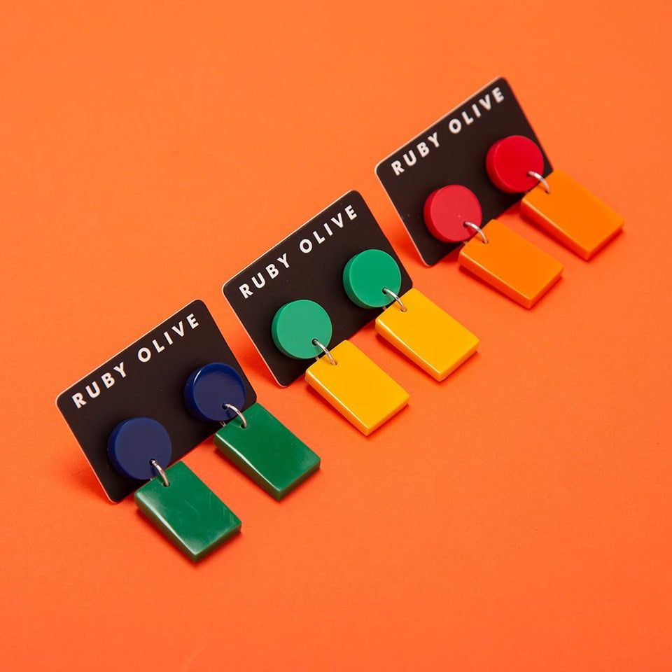 three pairs of fiesta drop earrings