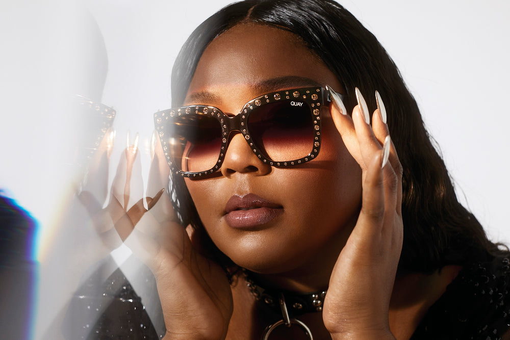Quay x Lizzo Icy stud embellishment sunglasses side view