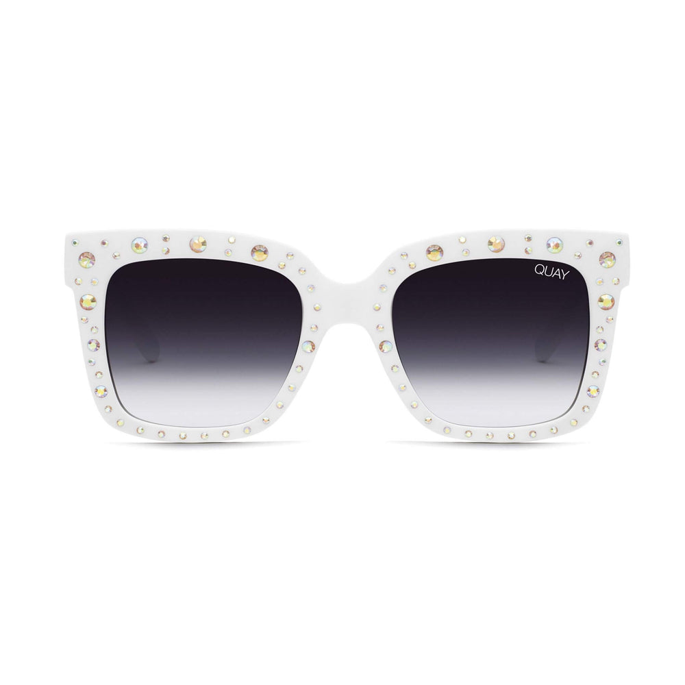 Icy Embellished Sunglasses White Rainbow/Fade