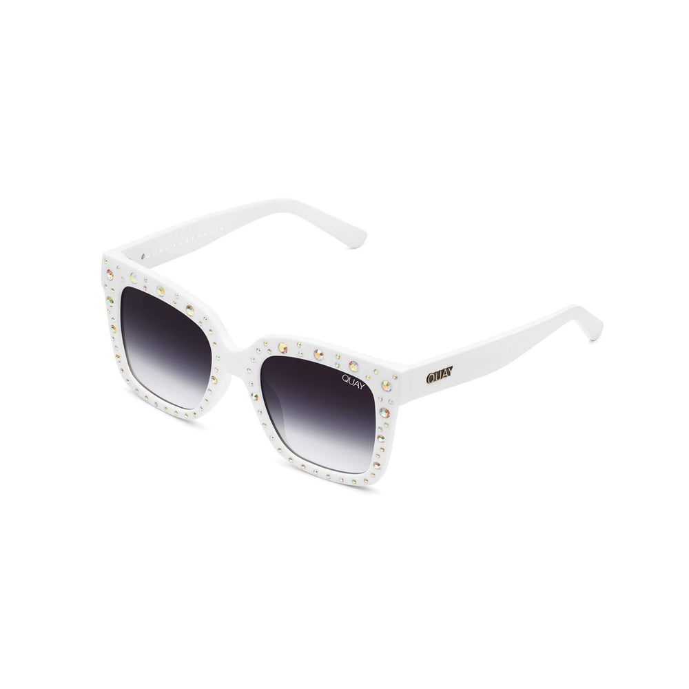 Quay x Lizzo Icy White Sunglasses Side View