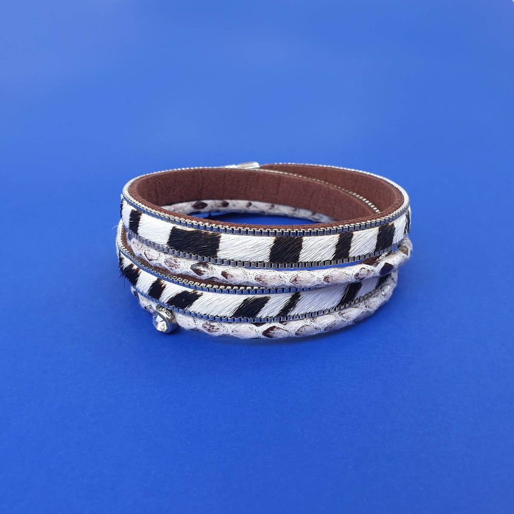 Double wrap bracelet in animal print.