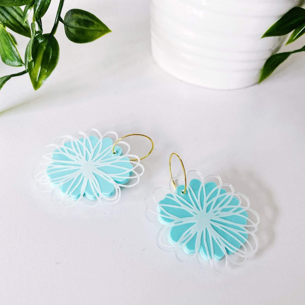 Scribble Daisy Earrings Mint