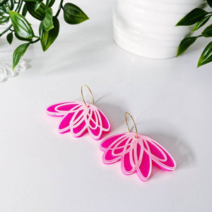 Beautiful layered tulip earrings in hot pink