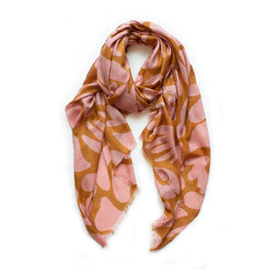 Seascape scarf in caramel and blush made fom viscose. Size  100 x 180 cm