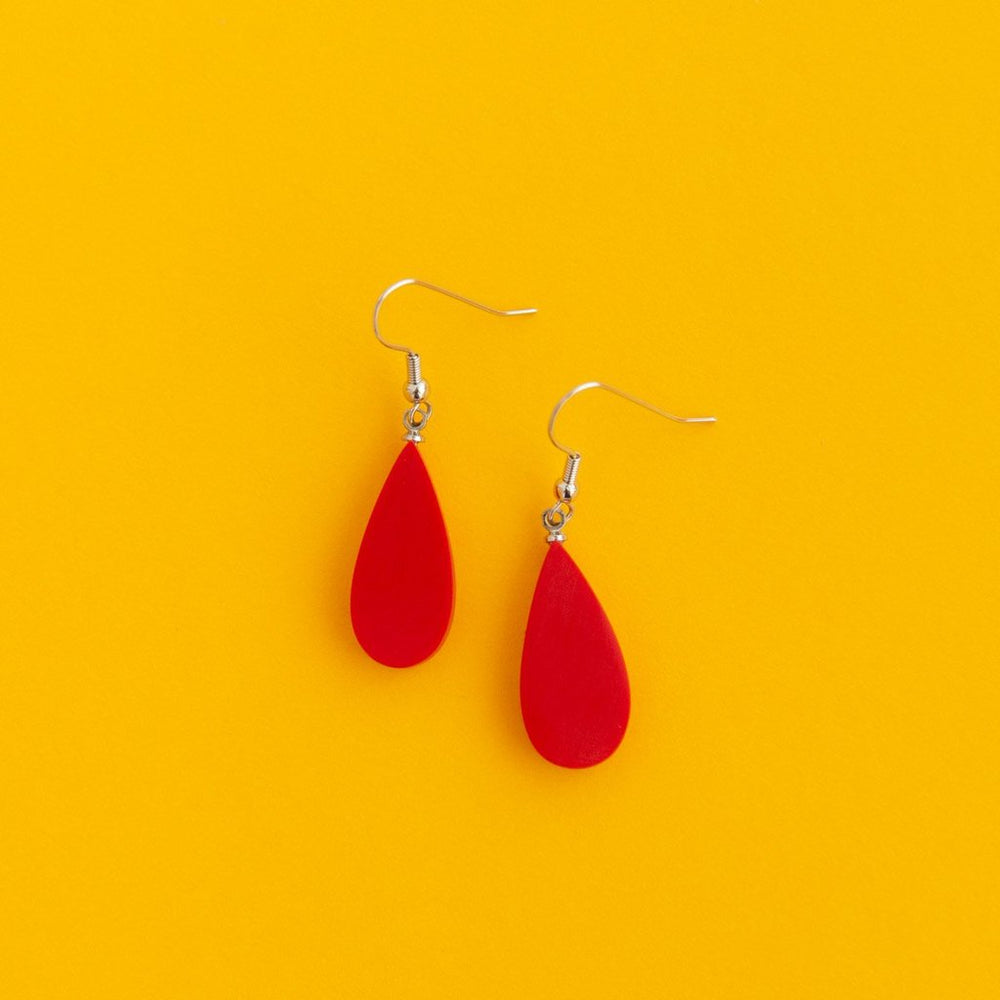 Everyday Droplet Earrings Red