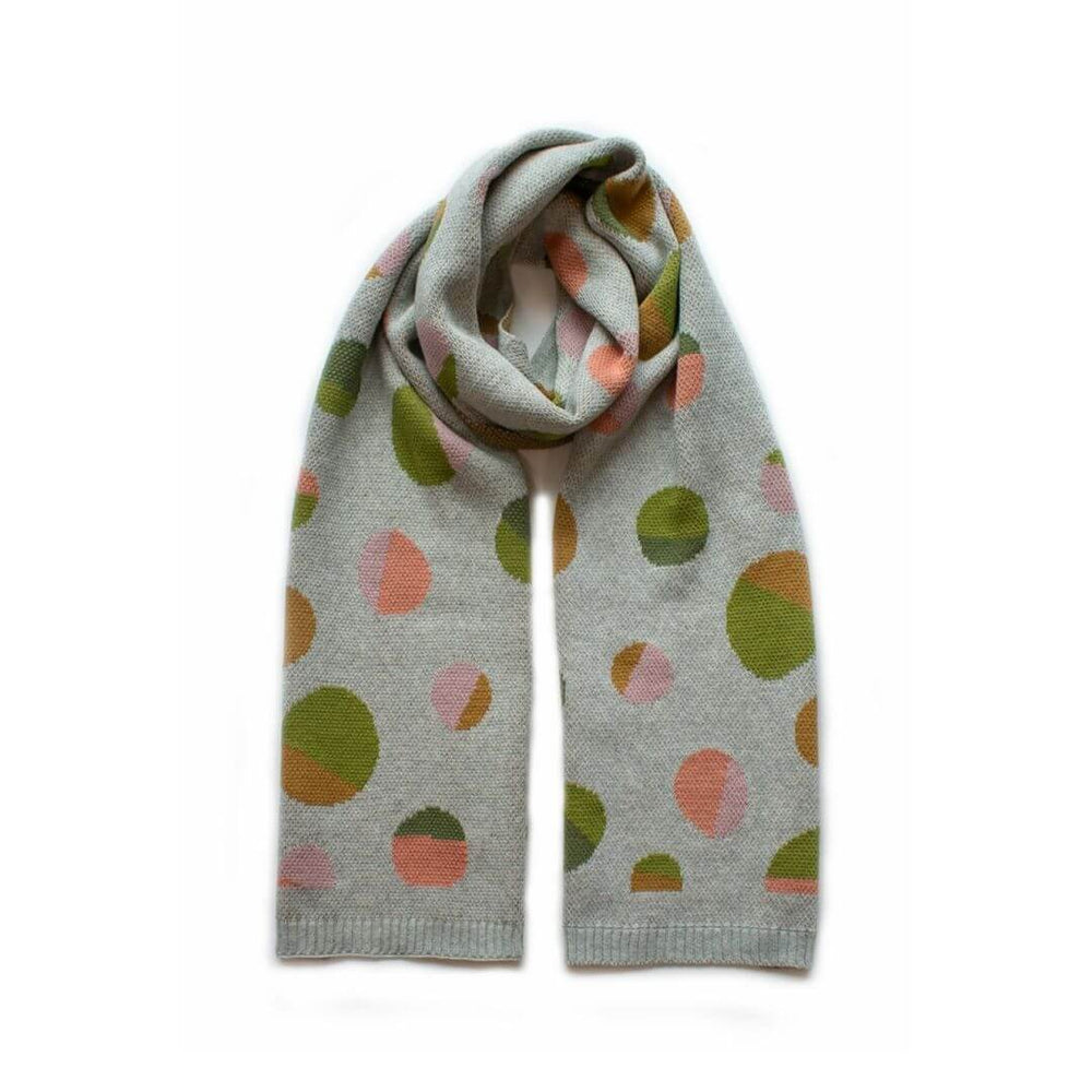 Spot Knit Natural + Coral + Olive Scarf