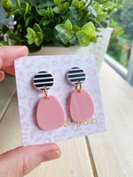 Stella Drop Earrings Stripes + Blush