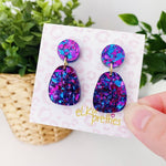 Stella Earrings Violet Disco Glitter