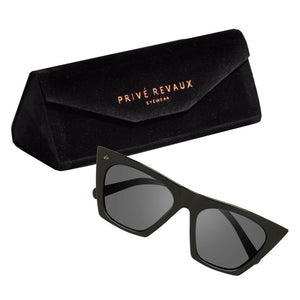 Image shows The Victoria sunglasses and case on a white background.
