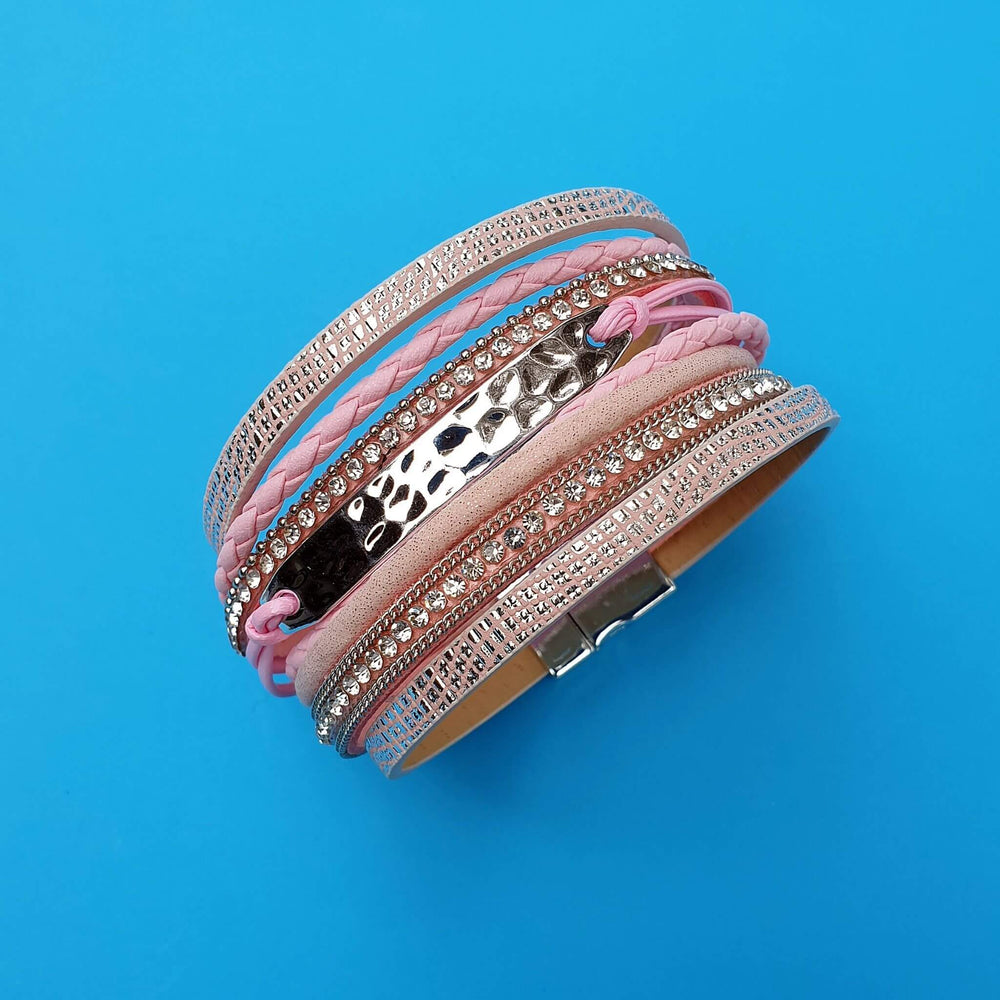 Pink and silver wrap bracelet.