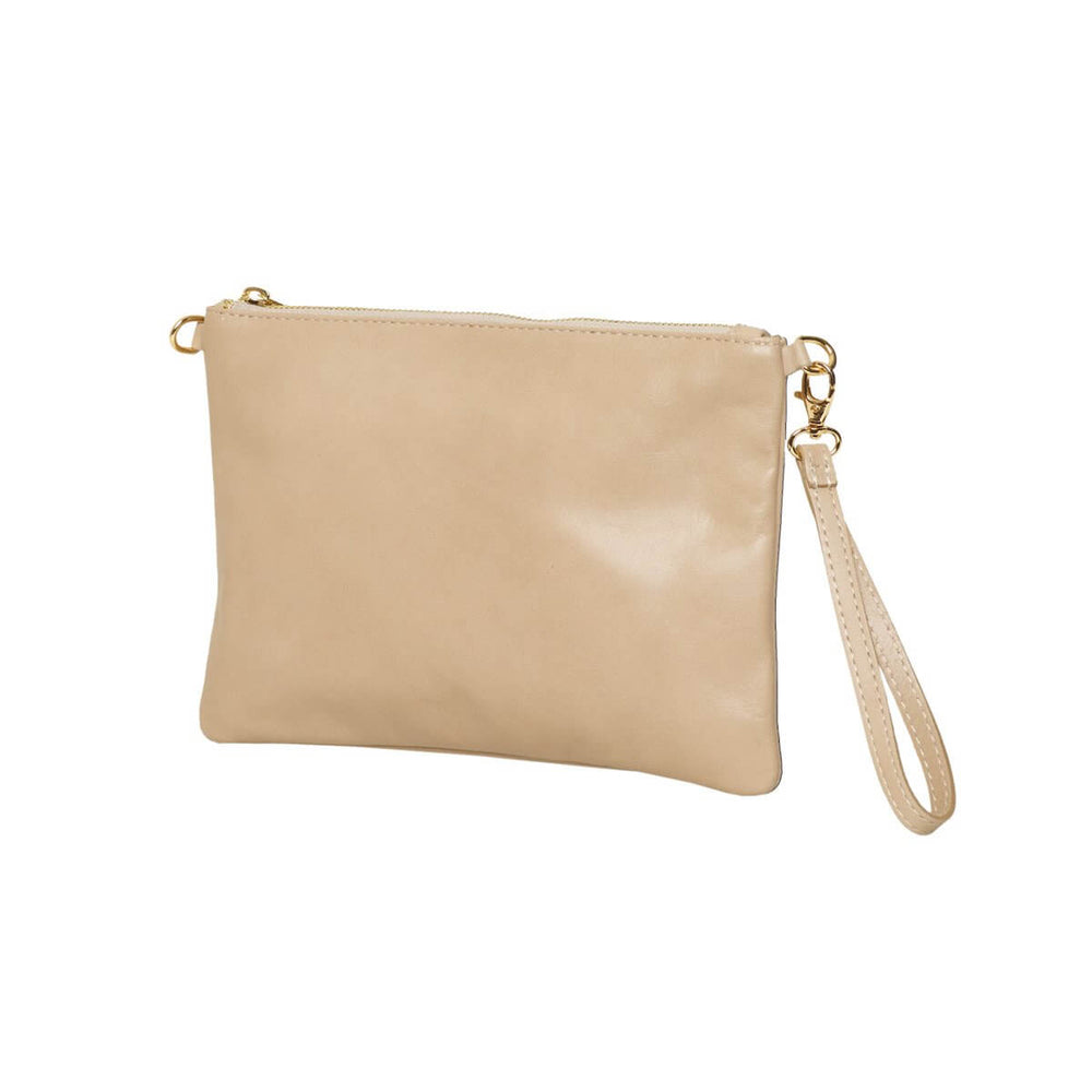 Tully Clutch Bag Beige with wrist strap