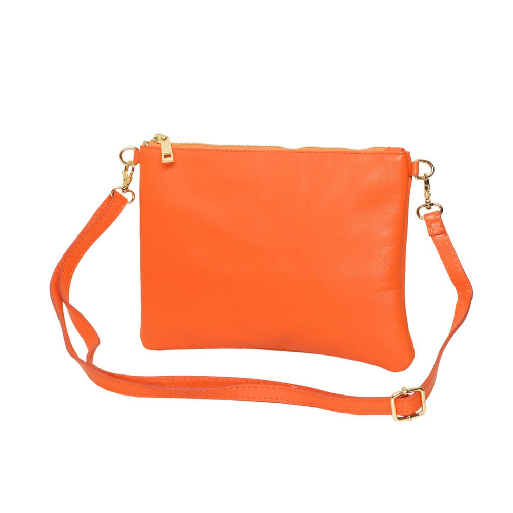 Tully Clutch Bag Orange with straps
