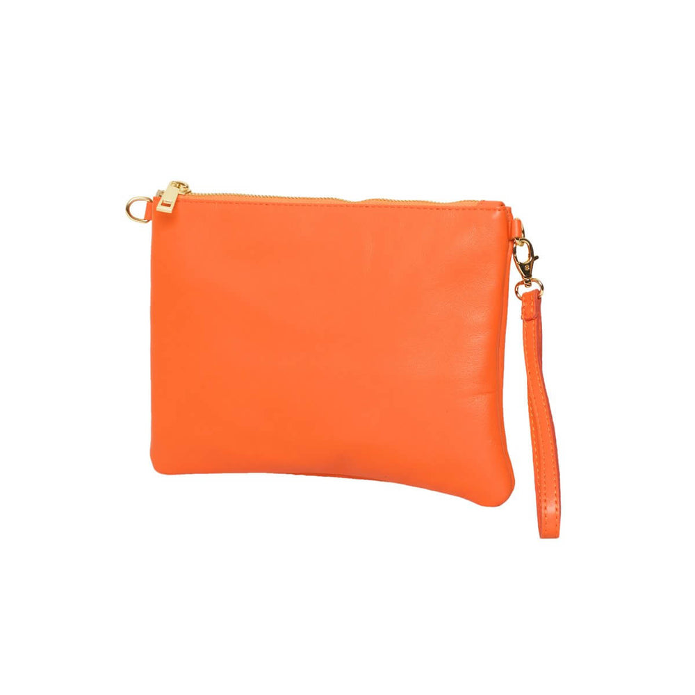 Tully Clutch Bag Orange with wrist strap