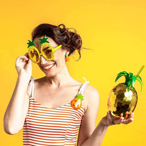 Model wearing pineapple glasses wearing the Tutti Frutti Pineapple set