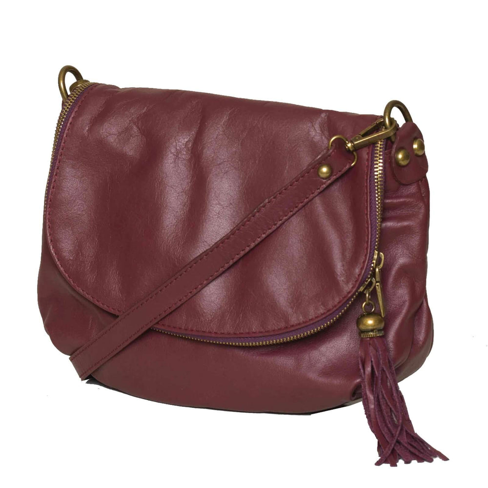 Closeup view of the Vasarino bag in plum.