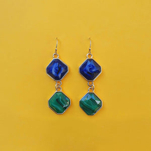 The Zadia earrings have two drops the first one is blue and the second is green.
