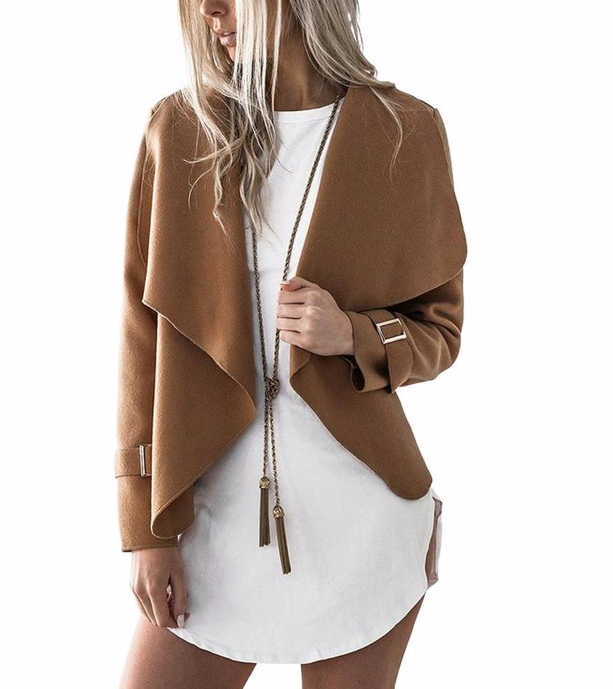 Women Wide Lapel Waterfall Open Front Jacket Coat Autumn Long Sleeve Adjusted Cuff 2 Colors Casual High Street Outwear