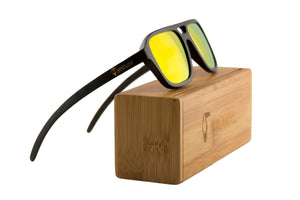 "Orange ""Ocean Wave"" Polarized Bamboo Sunglasses"