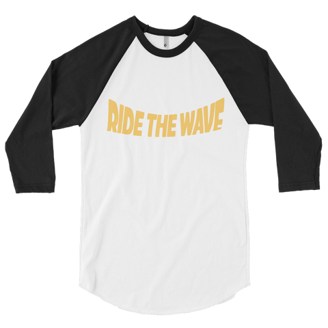 3/4 sleeve raglan ride the wave tee (black)