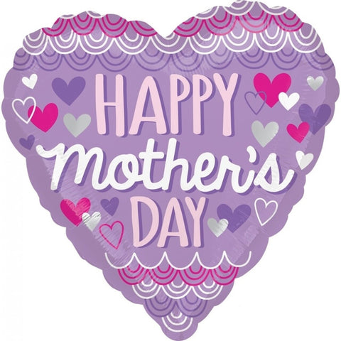"18"" Foil - Happy Mother's Day Purple Heart"