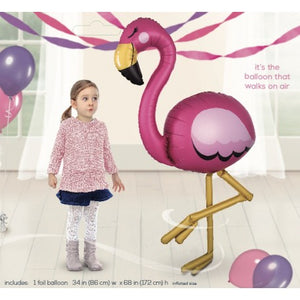 "AirWalkers - Flamingo Foil 68"" Tall"