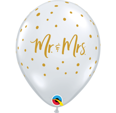"Mr & Mrs Clear 11"" Latex Balloon"