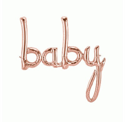 Air Filled Script Baby Rose Gold