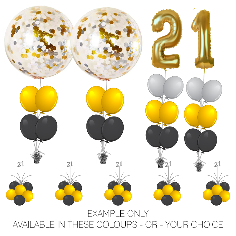 Event Package 2 - Foil Numbers PLUS Big Confetti Balloon Arrangements