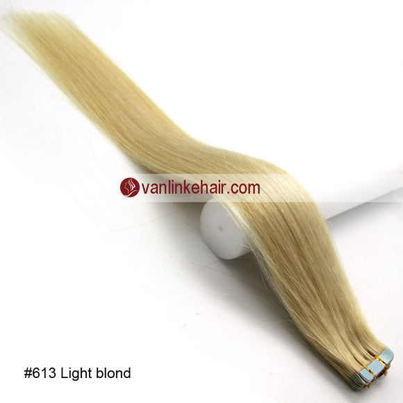 20pcs PU Seamless Skin Tape In Remy Human Hair Extensions Straight Light Blonde(613#) - VANLINKE HUMAN HAIR EXTENSIONS