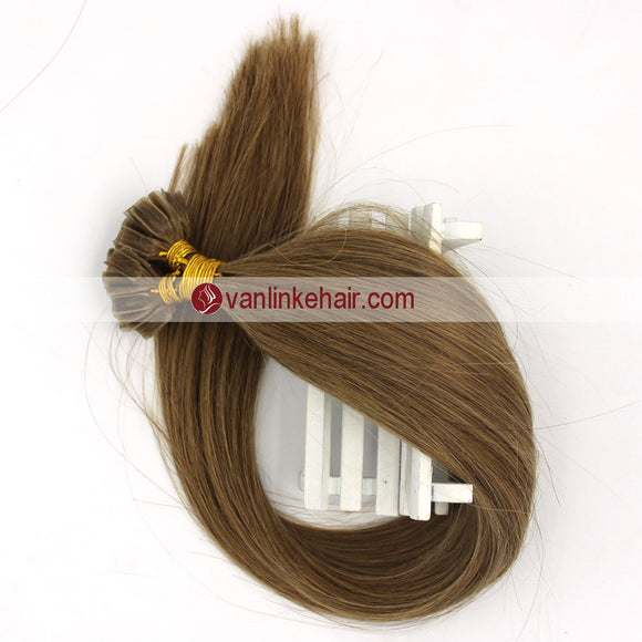 16-22Inches 50s 1g/s Pre Bonded Nail U Tip Remy Human Hair Extensions Straight Light Brown(12#) - VANLINKE HUMAN HAIR EXTENSIONS