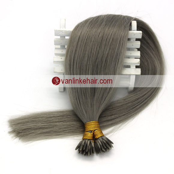 16-22Inches 50s 1g/s Keratin Stick I Tip Human Hair Extensions Straight Grey - VANLINKE HUMAN HAIR EXTENSIONS