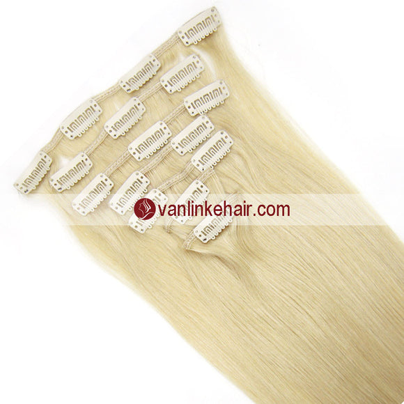 7PCS Full Head Clips on/in Remy Human Hair Extensions Straight White Blonde(60#) - VANLINKE HUMAN HAIR EXTENSIONS