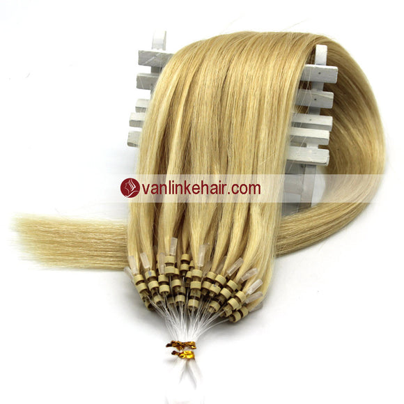 16-22inches 50s 1g/s Easy Loop Double Micro Ring Beads Tip Remy Human Hair Extensions Straight Light Blonde (613#) - VANLINKE HUMAN HAIR EXTENSIONS