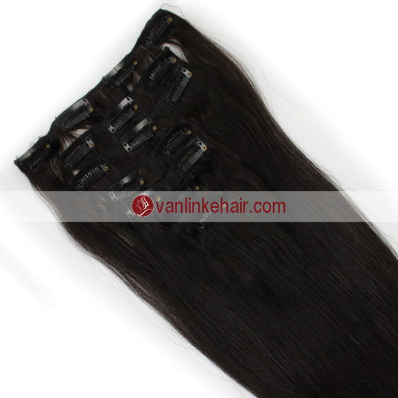 7PCS Full Head Clips on/in Remy Human Hair Extensions Straight Natural Black Kinda Brown(1B#) - VANLINKE HUMAN HAIR EXTENSIONS