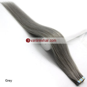 20pcs PU Seamless Skin Tape In Remy Human Hair Extensions Straight Grey - VANLINKE HUMAN HAIR EXTENSIONS