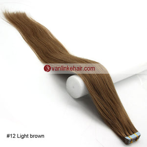 20pcs PU Seamless Skin Tape In Remy Human Hair Extensions Straight Light Brown(12#) - VANLINKE HUMAN HAIR EXTENSIONS
