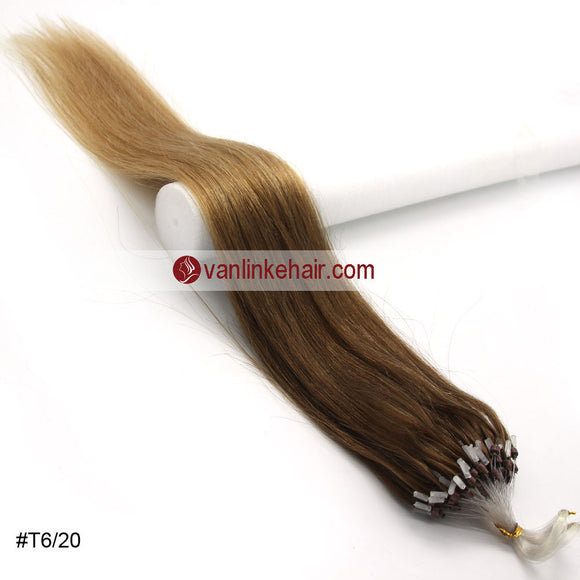 16-26inches 100s Easy Loop/Micro Ring Beads Tip Remy Human Hair Extensions Straight #T6/20 - VANLINKE HUMAN HAIR EXTENSIONS