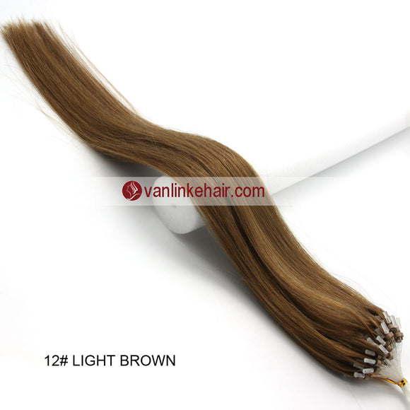 16-26inches 100s Easy Loop/Micro Ring Beads Tip Remy Human Hair Extensions Straight Light Brown(#12) - VANLINKE HUMAN HAIR EXTENSIONS