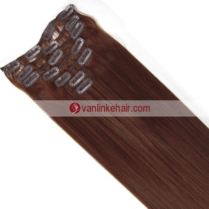 7PCS Full Head Clips on/in Remy Human Hair Extensions Straight Dark Auburn(33#) - VANLINKE HUMAN HAIR EXTENSIONS