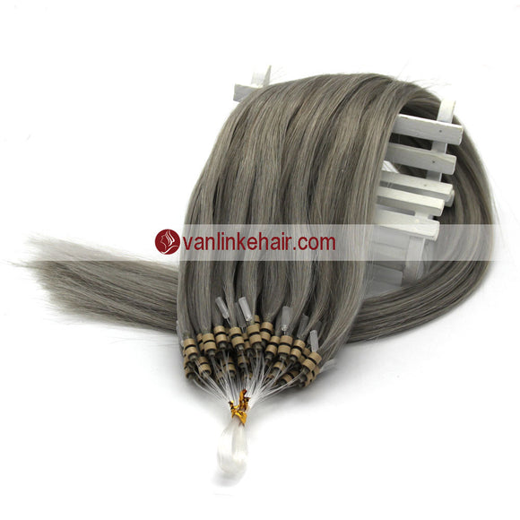 16-22inches 50s 1g/s Easy Loop Double Micro Ring Beads Tip Remy Human Hair Extensions Straight Grey - VANLINKE HUMAN HAIR EXTENSIONS