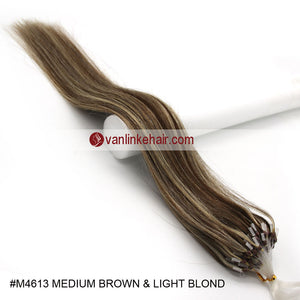 16-26inches 100s Easy Loop/Micro Ring Beads Tip Remy Human Hair Extensions Straight #4/613 - VANLINKE HUMAN HAIR EXTENSIONS
