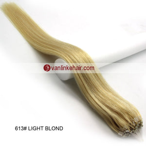 16-26inches 100s Easy Loop/Micro Ring Beads Tip Remy Human Hair Extensions Straight Light Blonde (#613) - VANLINKE HUMAN HAIR EXTENSIONS