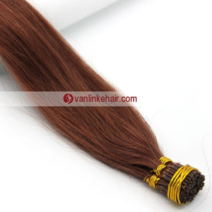 16-24Inches 100s Keratin Stick I Tip Human Hair Extensions Straight Auburn(33#) - VANLINKE HUMAN HAIR EXTENSIONS