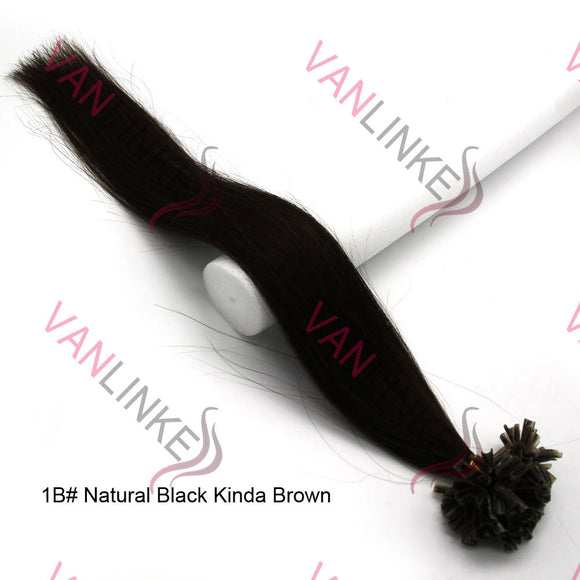 16-26Inches 100s Pre Bonded Nail U Tip Remy Human Hair Extensions Straight Natural Black Kinda Brown(1B#) - VANLINKE HUMAN HAIR EXTENSIONS