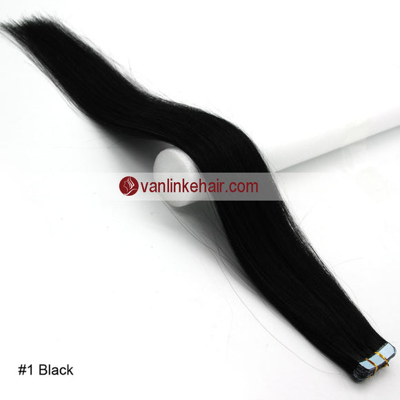 20pcs PU Seamless Skin Tape In Remy Human Hair Extensions Straight Jet Black(1#) - VANLINKE HUMAN HAIR EXTENSIONS